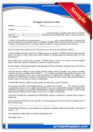 Free Printable Mortgage mitment Letter Legal Forms