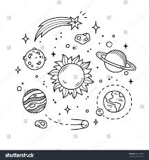 Hand Drawn Solar System Sun Planets Stock Vector