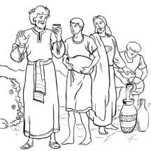 Jesus Turn Six Jars Of Water Into Wine In Miracles Coloring Page