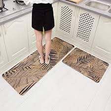 carvapet 2 stück rutschfeste gummi rückseite küchenläufer set bodenmatten badezimmer teppich fußmatte läufer 45 7 x 149 9 cm 45 7 x 76 2 cm blätter