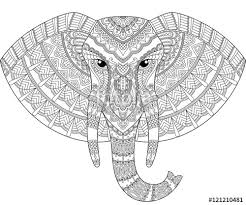 Elephant Head In Zentangle Style Adult Antistress Coloring Page Black And White Hand Drawn