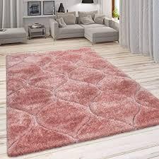 paco home hochflor teppich kuscheliger wohnzimmer pastell shaggy 3d muster m soft garn grösse 120x160 cm farbe pink