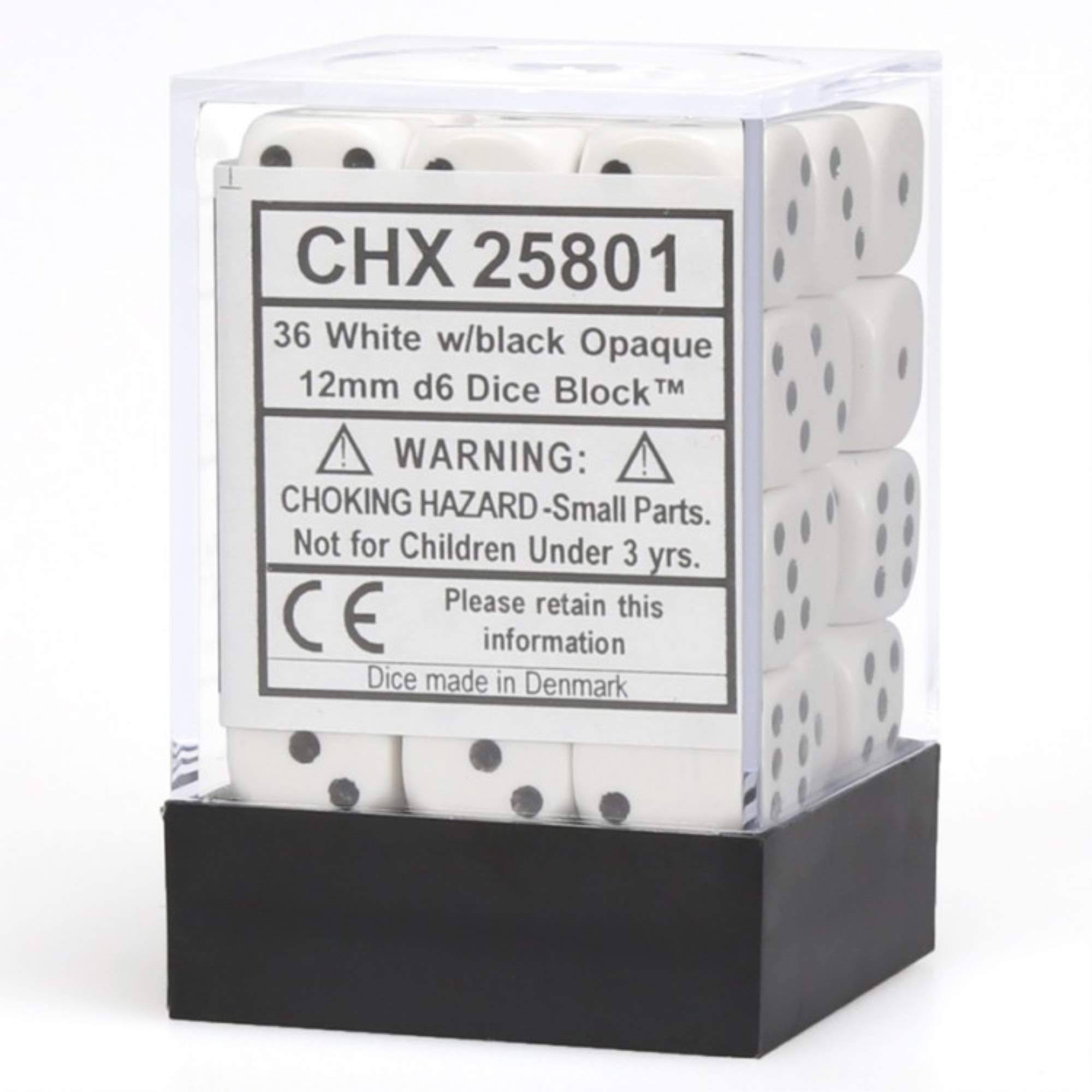 Chessex Dice: Opaque 12mm D6 White/Black (36ct)