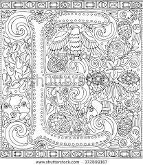 Adult Coloring Book Art Sheet Alphabet Letter E Zen Relaxation