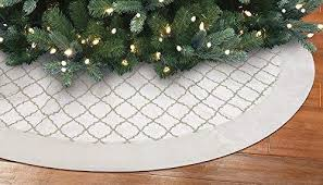 New Traditions 56 INCH VELVET TREE SKIRT WITH FAUX FUR BORDER AND GOLD GLITTER DESIGN