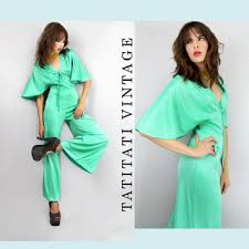 70s DISCO Foam Green CAPE Sleeves Palazzo Jumpsuit Vintage Clothes By TatiTati On