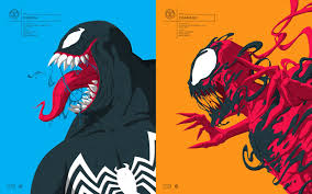 NYCC 2017 Exclusive Star Lord Venom Carnage Marvel Faceoff Portrait Screen Prints By Florey X Grey Matter Art