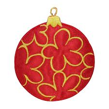 ID 8273 Golden Christmas Ornament Patch Ball Bulb Embroidered Iron