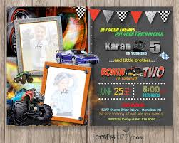 Monster Truck Sibling Birthday Invitation - Race Car Joint Birthday ... Birthday Monster Party Invitations Free Stephenanuno Hot Wheels Invitation Kjpaperiecom Baby Boy Pinterest Cstruction With Printable Truck Templates Monster Birthday Party Invitations Choice Image Beautiful Adornment Trucks Accsories And Boy Childs Set Of 10 Monster Jam Trucks Birthday Party Supplies Pack 8 Invitations