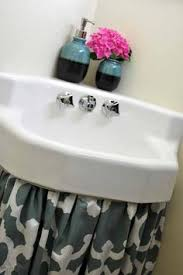 Burlap Utility Sink Skirt by An Easy Way To Dress Up Your Sink Pedestal Sink Aunt And Sinks