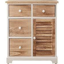 mobili kommode schubladenschrank weiß hellbraun 4 schubladen 1 tür holz design wohneinrichtung wohnzimmer badezimmer maße 70x60x30 cm