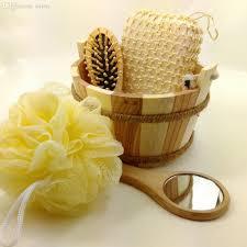 Decorative Towel Sets Bathroom by Wooden Bath Set Wooden Comb Mirror Bath Sponge Bathroom