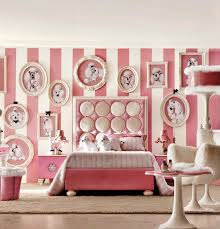 deco mural chambre design interieur idee chambre fille lit table ronde chaise