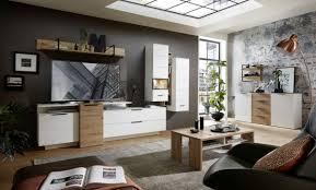 wohnwand schrankwand anbauwand wohnzimmer mediana1 7 tlg hängevitrine hängeschrank tv wandboard weiß eiche led beleuchtung