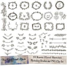 Photoshop Brushes Digital PNG Clipart Rustic Floral Sketches Instant Download Commercial Use