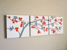 Three Canvas Wall Art Square Set 3 Piece Triptych Abstract Orange And Gray Cherry Blossoms Original Painting 12 X Each On Etsy 220 Usd