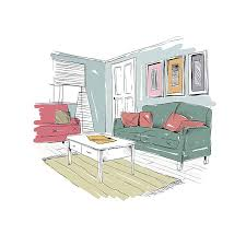 Living Room Design Interior Sketch Hand Drawn Vector Illustration Art