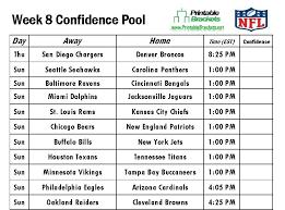 NFL Confidence Pool Week 8