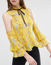 image 3 of asos cold shoulder ruffle blouse in floral print