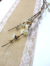 Burlap Table Runner Wedding With Soft Pink Vintage Inspired Lace Rustic Handmade In The USA