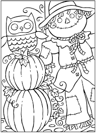 Owl And Scarecrow Coloring Page