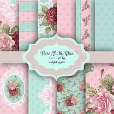 Pure Shabby Chic Flowers Digital Paper Pack