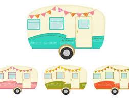 ON SALE Vintage Caravan Clip Art Car Retro Caravans