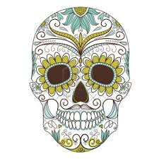 Sugar Skull Pumpkin Pattern by Day Of The Dead Colorful Skull With Floral Ornament Art