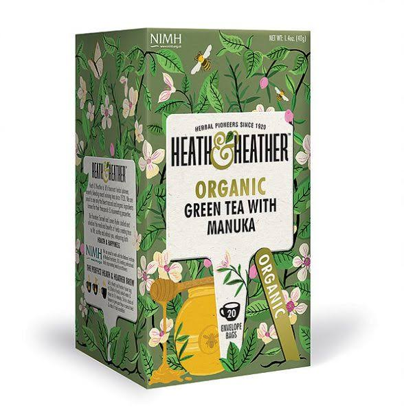 Heath & Heather Organic Green Tea with Manuka Honey - 20ct, 40g