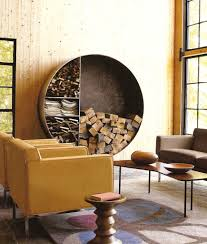 Small Rustic Living Room Design With Floating Circle Indoor Firewood Rack And Yellow Leather Chairs Brown Sofa Ideas