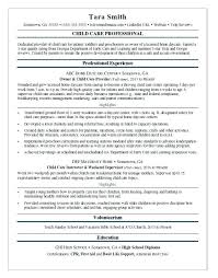 Child Care Resume Sample Experienced Worker