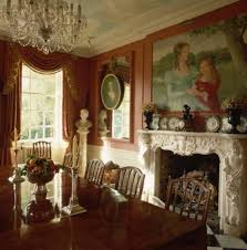 Dining Room With Fireplace And Victorian Chandelier Beautiful Elegant