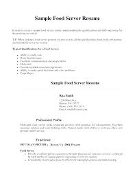 Resume Objective Examples For Restaurant Server Samples Cover Letter Web Create An A Resum