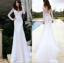 long sleeves v neck trumpet mermaid wedding dresses top lace white