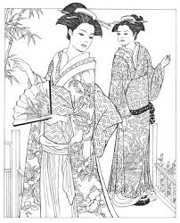 Creative Haven Japanese Kimono Designs Coloring Book Books