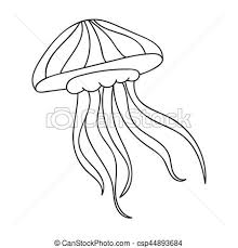 Jelly Fish Icon In Outline Style Isolated White Background Sea Animals Symbol Stock Vector