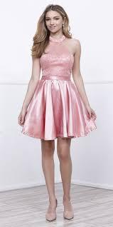 short lace satin halter prom dress dark rose a line flare