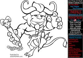 Scary Beast Coloring Page Book Illustration Artwork