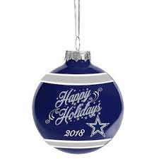 Dallas Cowboys 2018 Happy Holidays Glass Ball Ornament