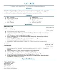 Security Guard CV Template Emergency Services Templates