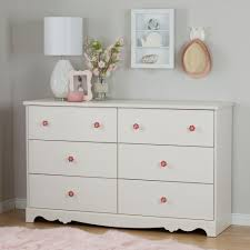 Pink Rose Dresser Knobs by South Shore Lily Rose 6 Drawer White Wash Dresser 10078 The Home