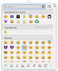Emoji quick type access panel in Mac OS X accessed by a keyboard shortcut
