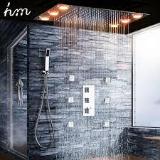 luxus decke montieren led dusche kopf badezimmer große regen dusche kopf mit thermostat wasserhahn sets mixer ventil und dusche buy decke