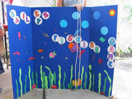 Tri Fold Poster Board In Blue I Cut Out Circles To Look Like Bubbles