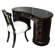 Kidney Shaped Tooled Leather Top Sligh Lowry Desk And Chair at 1stdibs