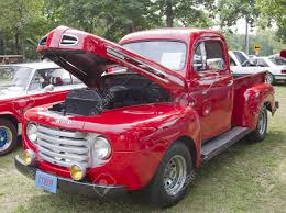 100 Ford F1 Truck WAUPACA WI AUGUST 25 1950 Red Pickup At The