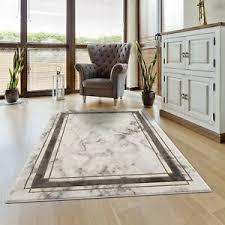 details zu teppich kurzflor modern bordüre meliert grau golden wohnzimmer