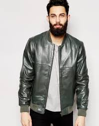 asos leather bomber jacket in green for men lyst
