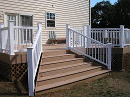 Flared Deck Stair Plans | Timbertech Decking With Flared Stairs ... Outdoor Wrought Iron Stair Railings Fine The Cheapest Exterior Handrail Moneysaving Ideas Youtube Decorations Modern Indoor Railing Kits Systems For Your Steel Cable Railing Is A Good Traditional Modern Mix Glass Railings Exterior Wooden Cap Glass 100_4199jpg 23041728 Pinterest Iron Stairs Amusing Wrought Handrails Fascangwughtiron Outside Metal Staircase Outdoor Home Insight How To Install Traditional Builddirect Porch Hgtv