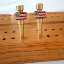 USA American Flag Patriotic Cribbage Pegs In Brass Fit Boards With Inch Holes
